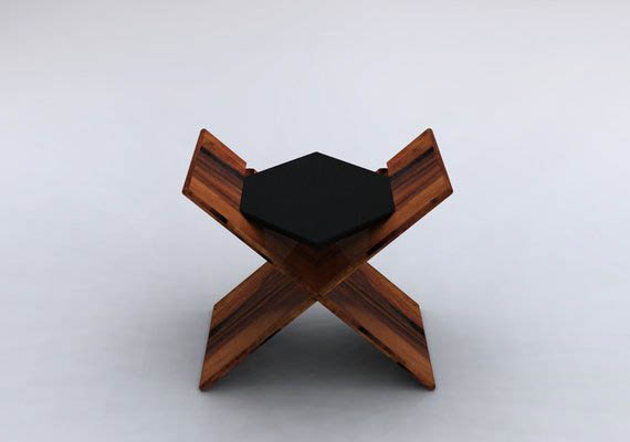small table or small sitting, assembled by only 3 joints.