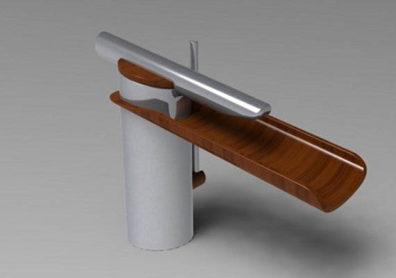 a modern tap. When an artificial steel cylinder enters in a natural wood tongue.