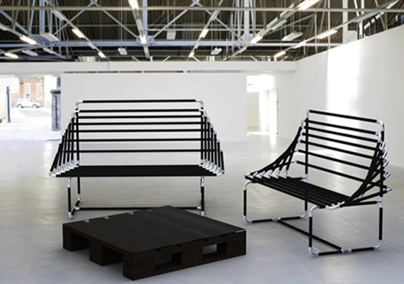 a modern sofa, made by iron pipes and pressfitting tecnology.